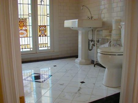 Black bathroom floor