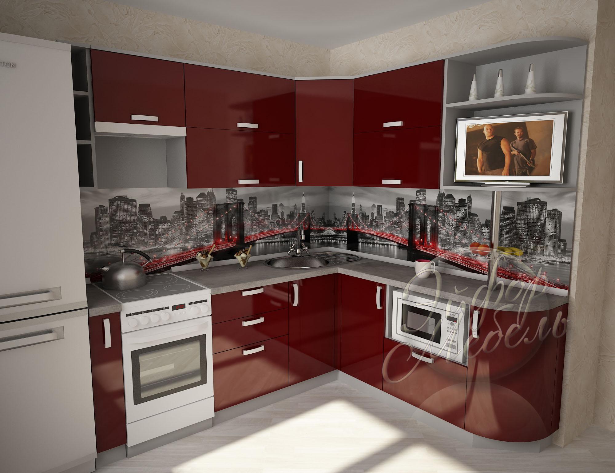 Бордового цвета кухни