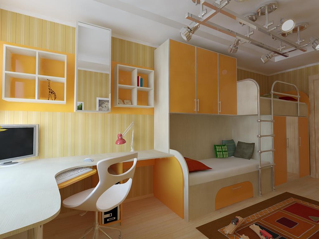 Набор мебели для детской оранжевый - наборы детской мебели, .